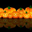 Halloween Pumpkins on black background — Stock Photo #1750532