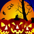 Stock Photo: Halloween pumpkins background