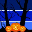 Halloween pumpkins background blue — Stock Photo #1750540