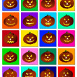 Stock Photo: Halloween pumpkins collage