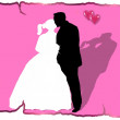 Wedding Couple pink Background — Stock Photo
