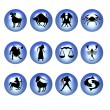 Zodiac symbols blue - Stock Photo