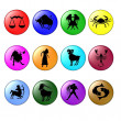 Colored Zodiac symbols - Stock Photo