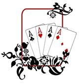 Poker Hand Quad Aces — Stock Photo