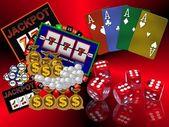 背景与赌场符号 — 图库照片