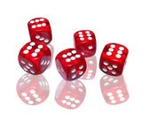 Red dice on white background — 图库照片
