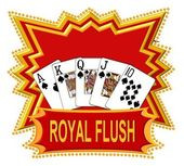 Royal flush logo rood — Stockfoto