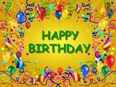 Gelukkige verjaardag baclground geel — Stockfoto
