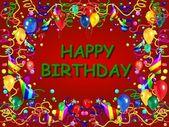 生日快乐 baclground 红色 — 图库照片