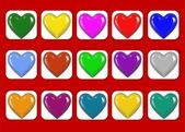 Colored Hearts Collage — Stock Photo