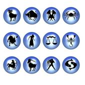 Zodiac symbols blue — Stock Photo