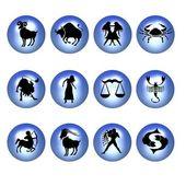 Zodiac symbols blue — Stock Photo