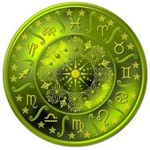 Zodiac Disc green — Stock Photo