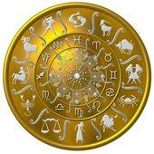 Zodiac Disc gold — Stock Photo