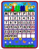2010 Calendar June — Stock Photo
