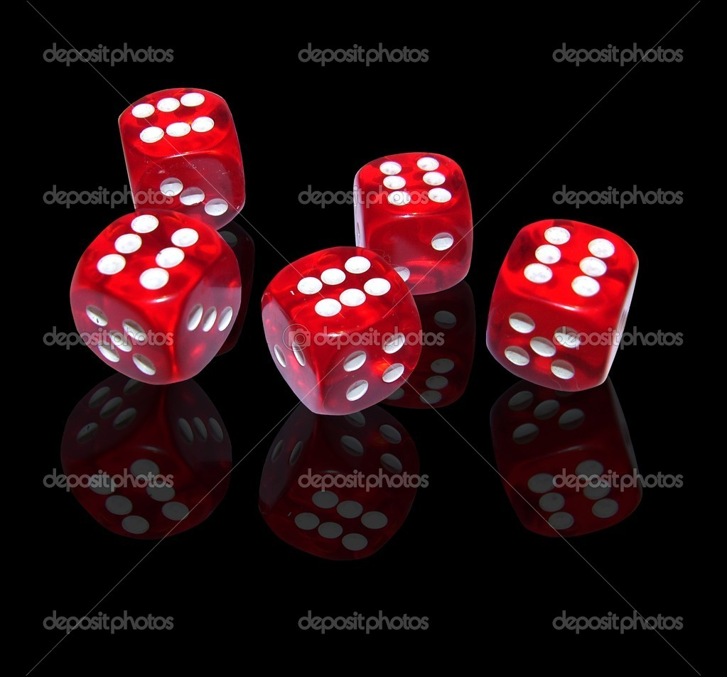 Red dice on black background — Stock Photo #1750401