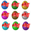 Colored easter eggs with ribbon — Stock Photo