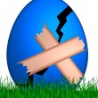 Stock Photo: Cracked easter egg with band aid