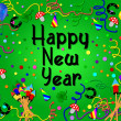Colorful happy new year background green — Stock Photo