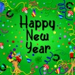 Colorful happy new year background green - Stock Photo