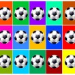 Background with soccer balls collage — 图库照片