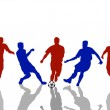 Reflecting silhouettes of soccer players — Stock Photo #1764127