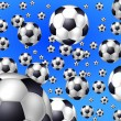 Blue background with flying soccer balls — Stock Photo