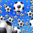 Blue background with flying soccer balls — Stock Photo #1764135