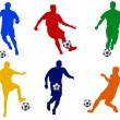 Stock Photo: Colored silhouettes of soccer players