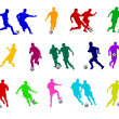 Royalty-Free Stock Photo: Colored silhouettes of soccer players
