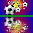 Background with soccer ball on grass — Stok fotoğraf