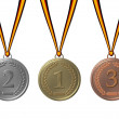 Stock Photo: Sports medals silver gold bronze