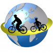 Cycling around the world - Stock Photo