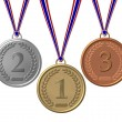 Set of Winners Medals bronze silver gold — Stock Photo #1765136