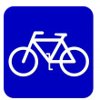 Blue sign bicycle — Stock Photo