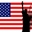 Stock Photo: Stars & Stripes Banner Lady Liberty