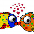 Colorful fish in love illustration — Stock Photo