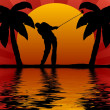 Golfer in sunset - Stockfoto