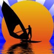 Windsurfer in sunset — Stock Photo #1768398