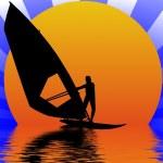 Windsurfer in sunset — Stock Photo