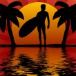 Surfer in sunset — Stockfoto