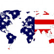 Worldmap in Stars & Stripes — Stock Photo