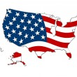 USA Map Stars & Stripes - Stock Photo