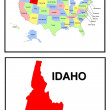 USA State Map Idaho — Stock Photo