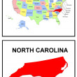 USA State Map North Carolina - Foto Stock