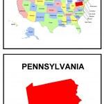 USA State Map Pennsylvania — Stock Photo #1768663