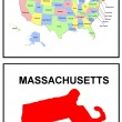 USA State Map Massachusetts — Stock Photo