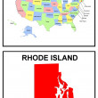 USA State Map Rhode Island - Stock Photo