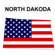 USA State Map North Dakota - Stock Photo