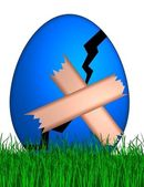 Cracked easter egg with band aid — Stock Photo